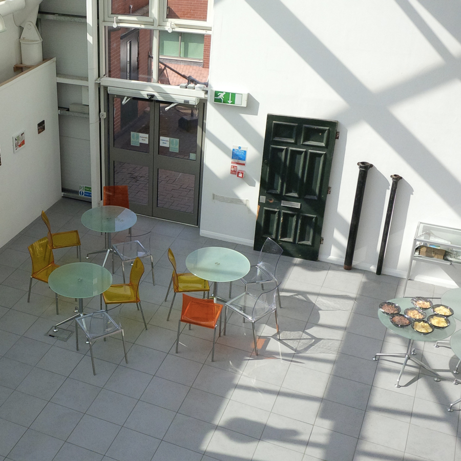 The atrium of the Bonnington building, NTU