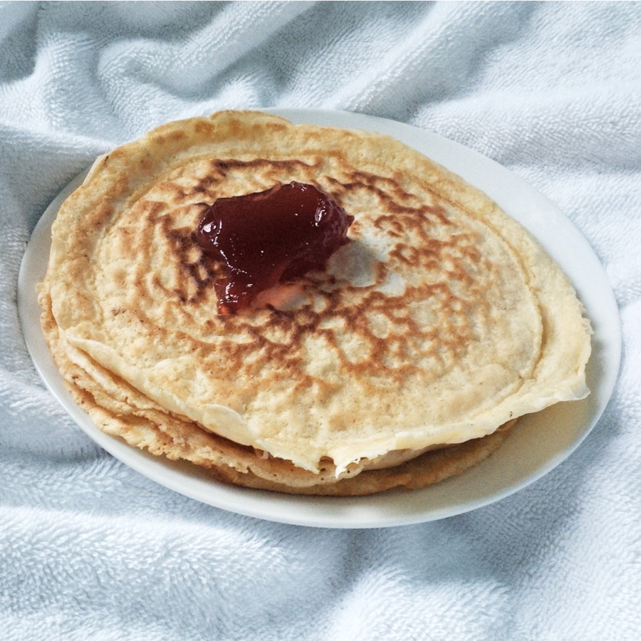 French crepes and strawberry jam