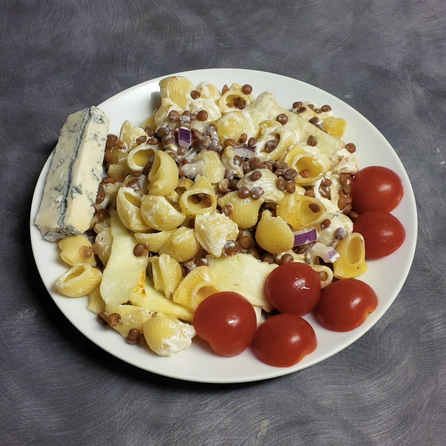 Pasta, lentils, some cheese and tomatoes