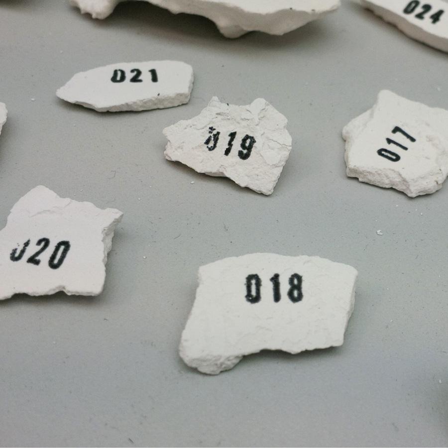 Random plaster fragments