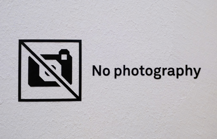 """""""No photography"""" allowed in one of the Whitechapel gallery room"""