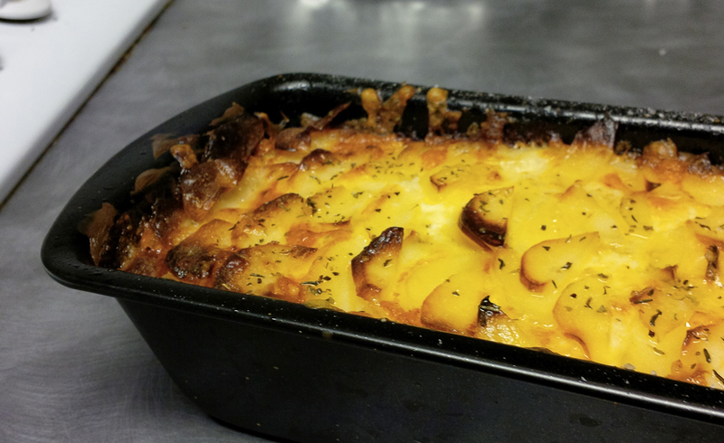 Potatoes gratin out of oven
