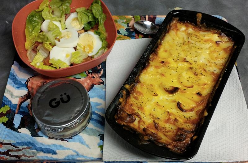Potatoes Gratin and Hard-boiled eggs salad